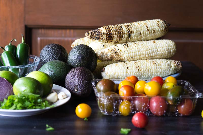 Fresh grilled corn avocado salad ingredients