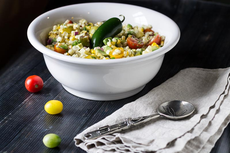 Fresh grilled corn avocado salad