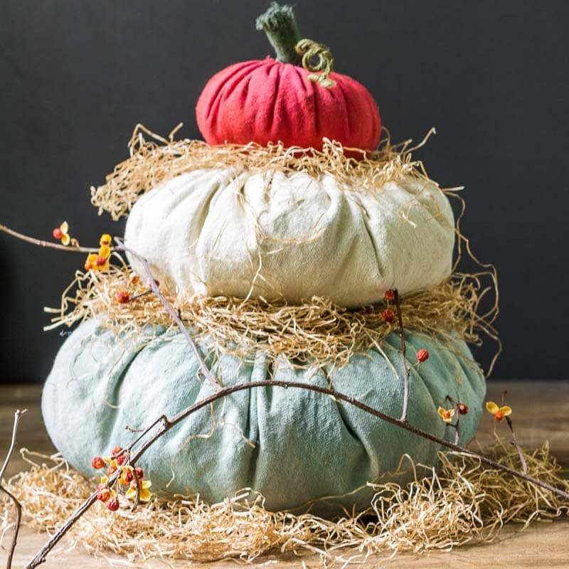 Heirloom Cinderella Fabric Pumpkin Stack