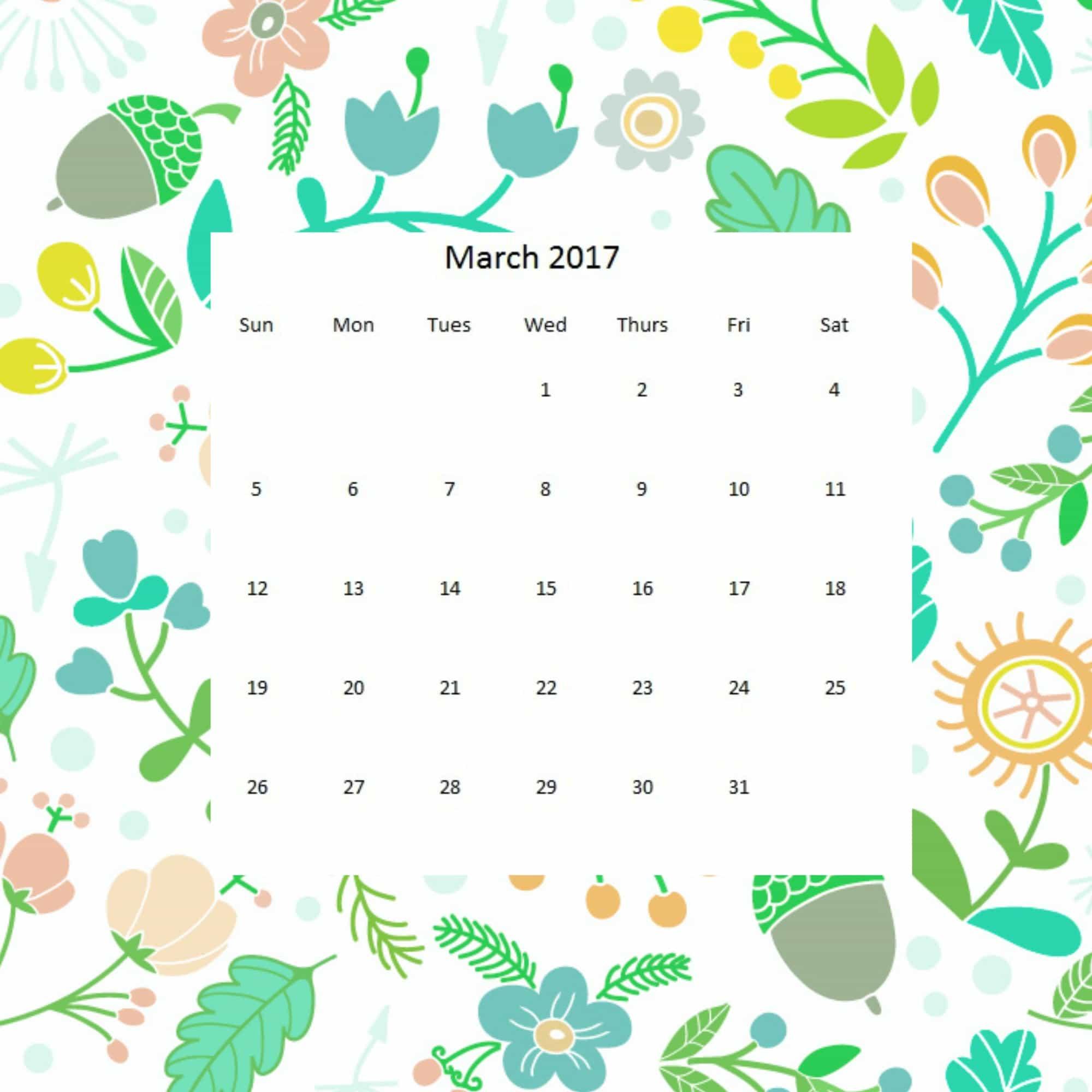 Calendar March 2017 Clipart – 2017 March Calendar
