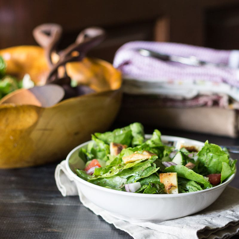 Middle Eastern Bread Salad - Fattoush Salad Bowl