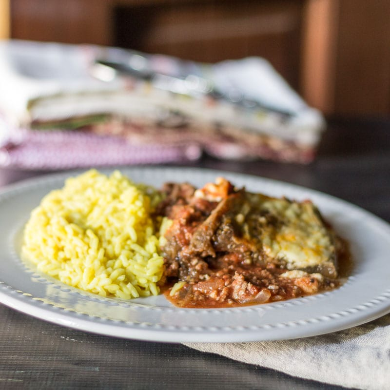 Moussaka Serving with Turmeric Rice