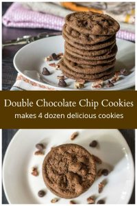 Double chocolate chip cookies stacks from top and side views