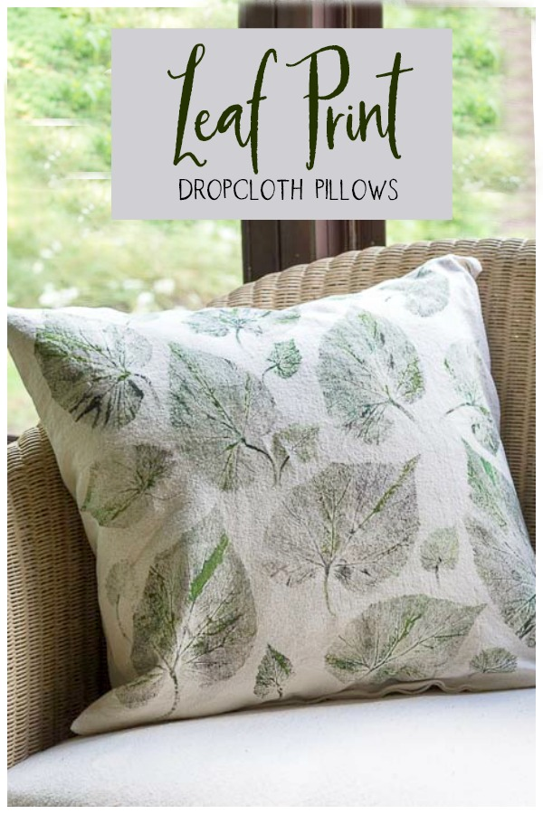 Leaf printing on dropcloth pillows