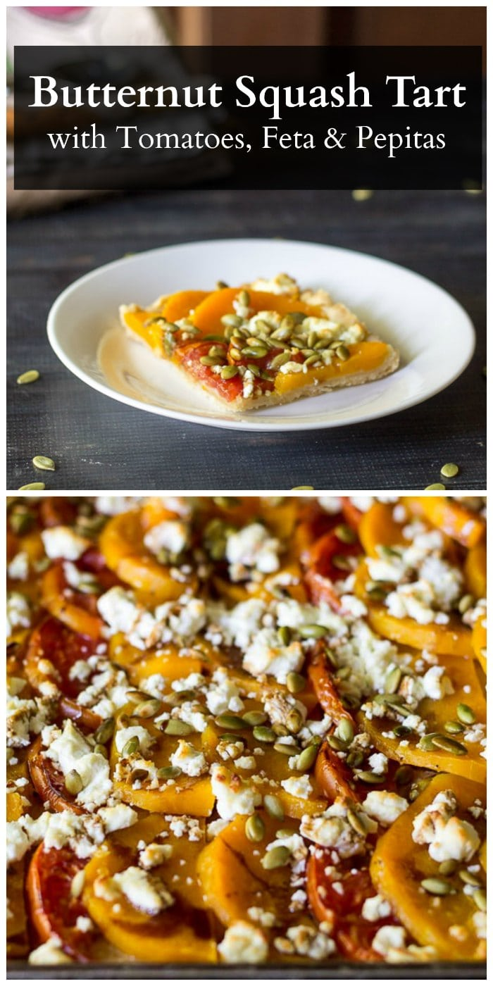 This recipe for a butternut squash tart with tomatoes, goat cheese and pepitas is feast for the eyes as well as the stomach.