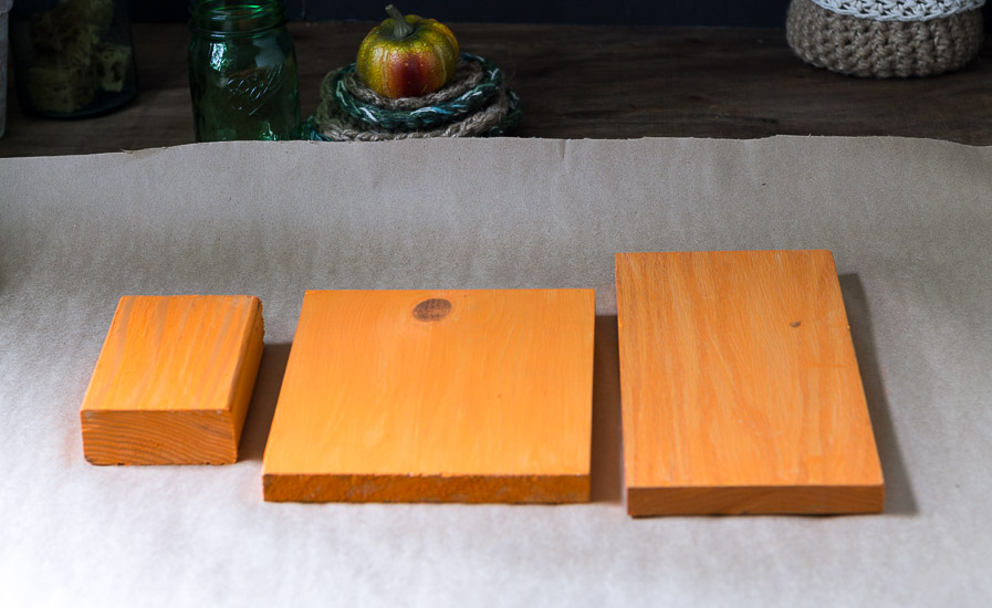 rustic-wooden-pumpkins-painted-orange-base