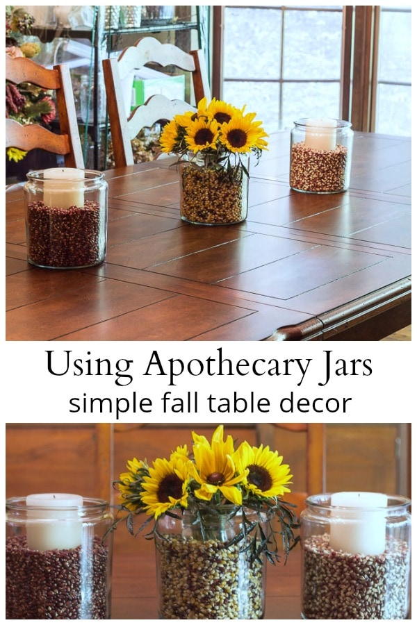 Fall apothecary jar centerpiece