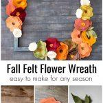 Top is a felt flower wreath. Under shows three images, a rose shaped felt flower, a daisy felt flower and felt leaves.