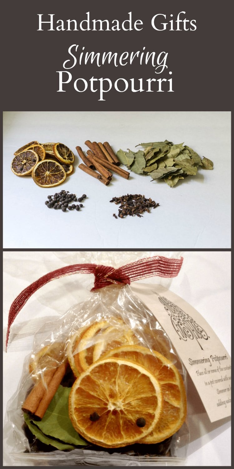 Put together a great homemade gift of simmering potpourri to give to your family and friends at the holidays. Makes a great hostess gift too.