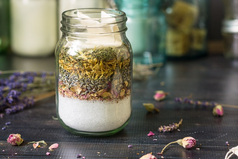 Layers of soothing herbs and salts for a relaxing bath make a great handmade gift for the holidays.