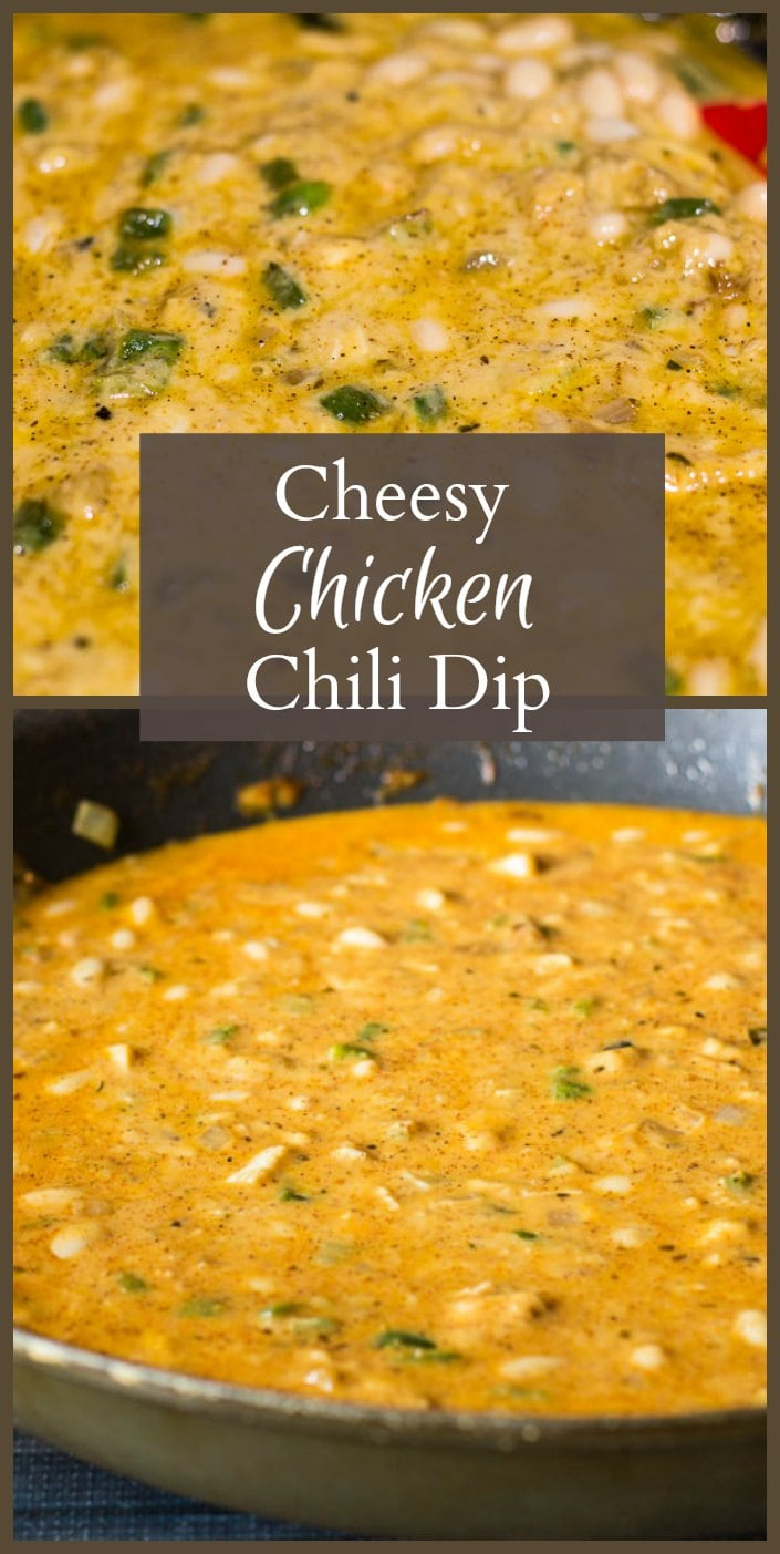 This cheesy chicken chili dip is so easy to make. Great for any party or for just hanging out to watching football or a movie with the family.