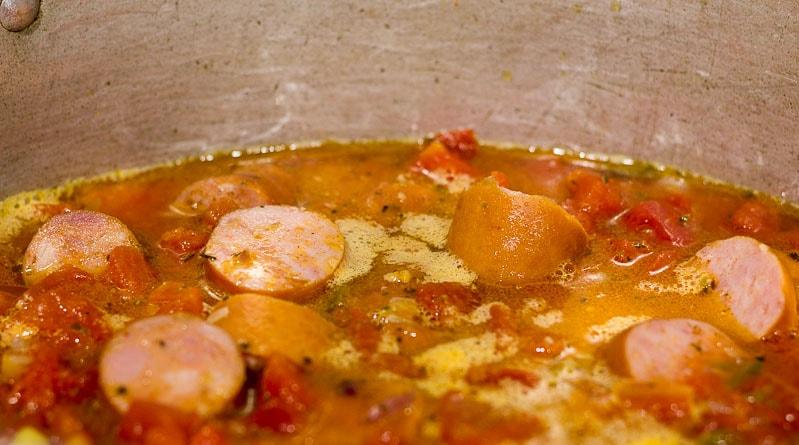 Simmering pot of seafood jambalaya