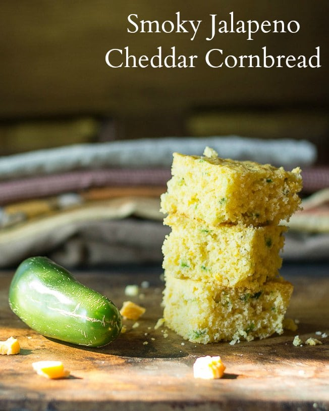 This recipe for smoky jalapeno cheddar cornbread is simple. The key is blistering jalapeno peppers over a flame to give the cornbread a nice smoky kick.