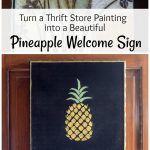 Thrift store painting and pineapple welcome sign collage