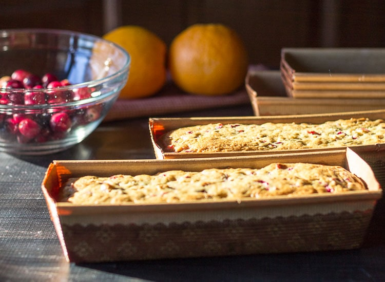 Cranberry orange loaves from the oven
