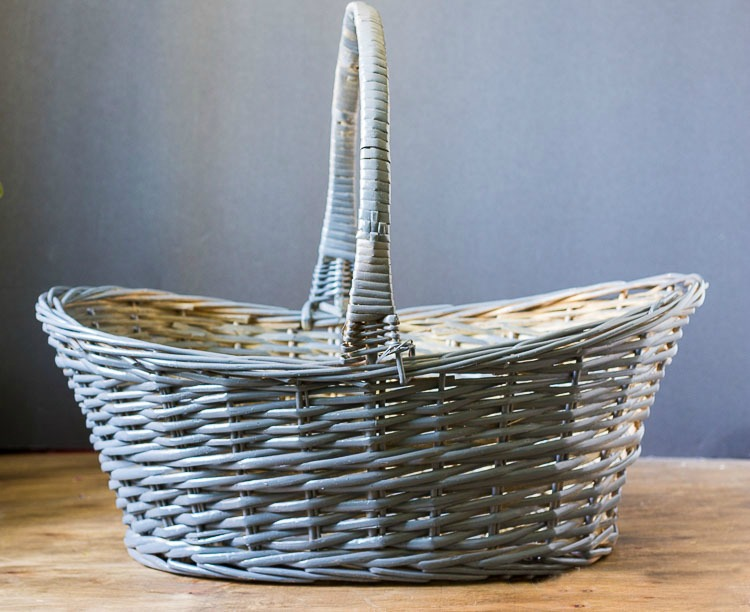 Gray spray painted basket