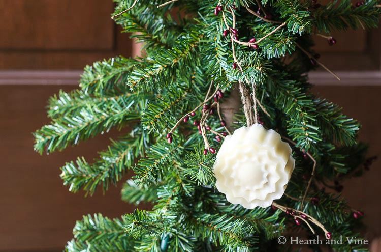Scented wax ornament on tree
