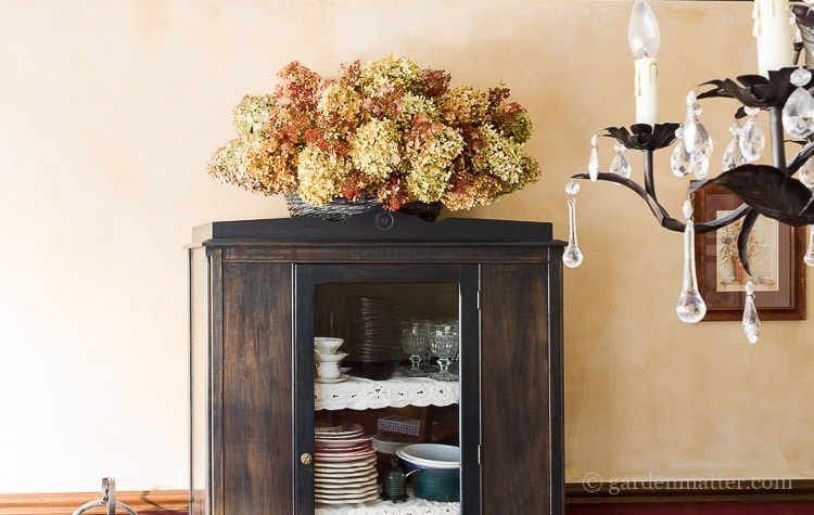hydrangea-basket-on-cabinet-in-dining-room