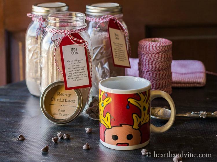 Mug with mason jar mix in background