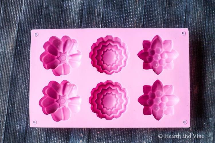 Silicone flower shaped cake molds.