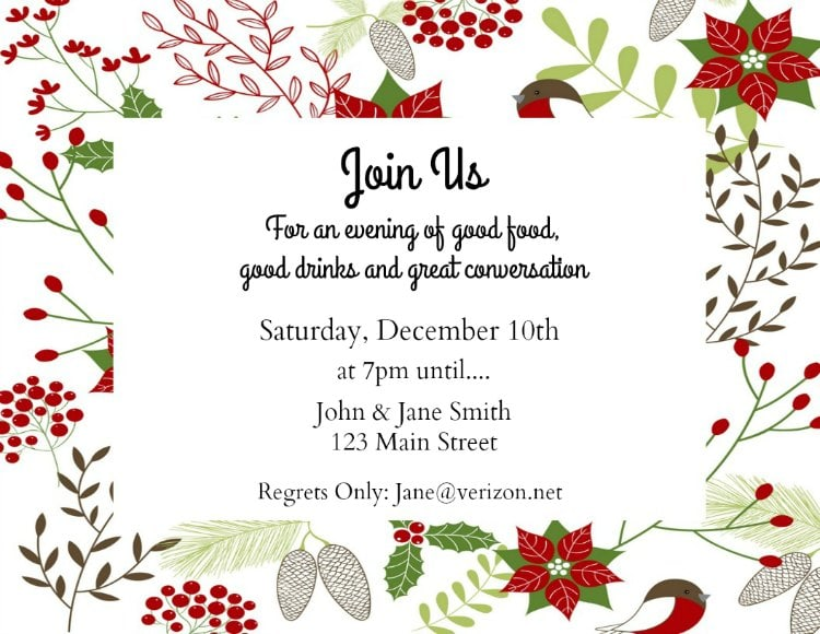 Christmas Invitations Free Template.Make Your Own Holiday Invitations Free Printables