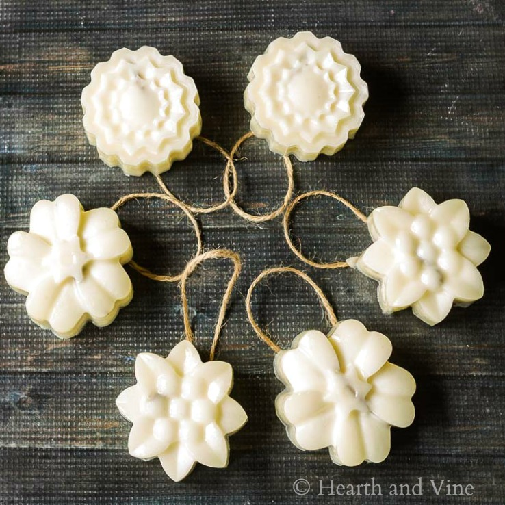 Circle of beeswax flower ornaments