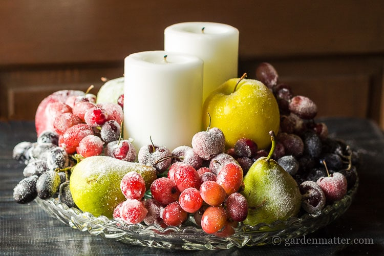 A sugared fruit centerpiece looks great on your holiday table or any time you want to dress your table for a festive occasion.