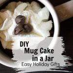 Mug with cake mix, whipped cream and chocolate chips