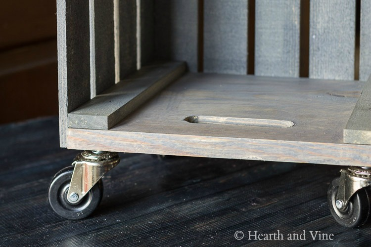 Casters on wood crate