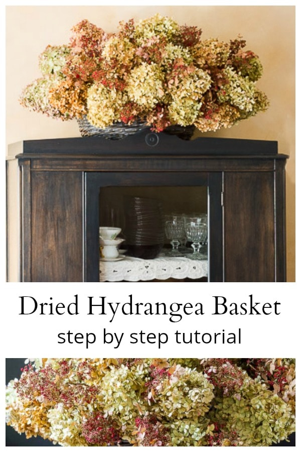 Dried hydrangea basket on cupboard