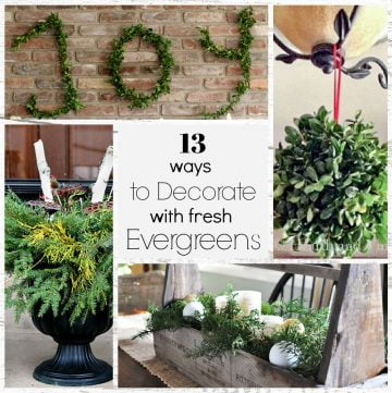 Square collage of evergreen decor, kissing ball, joy letters, planter and centerpiece