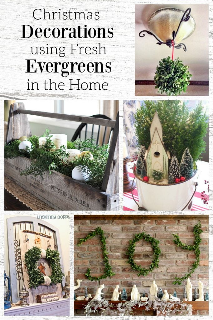 Collage of indoor fresh evergreen decor including a centerpiece hanging letters spelling Joy, a kissing ball and a wreath.