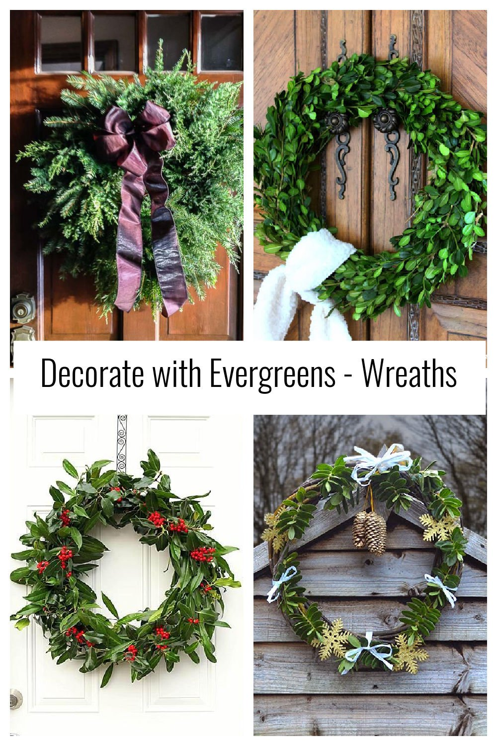 Collage of four evergreen wreaths