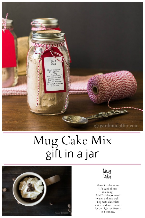 Mug cake mix in a jar and instructions
