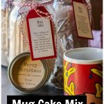 Mug cake mix in mason jar, Christmas mug and chocolate chips