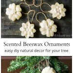 Set of flower shaped beeswax ornaments