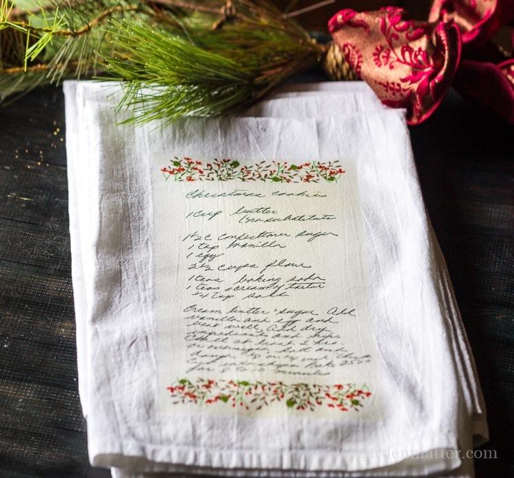Christmas-Cookie-Recipe Transfer on Tea Towel