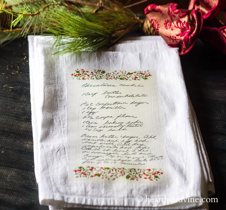 Handwritten Family Recipe Tea Towel Gift Easy Tutorial Hearth And Vine