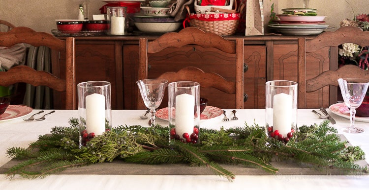 Wood, Candle, Cranberry and Fresh Evergreen Centerpiece