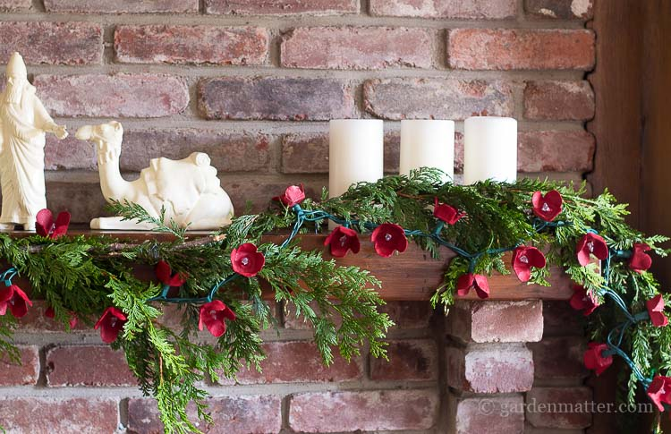 Egg Carton Flower Garland on Mantel