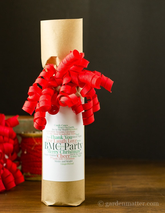 Gift Wrapped Wine Bottle with Word Cloud Tag