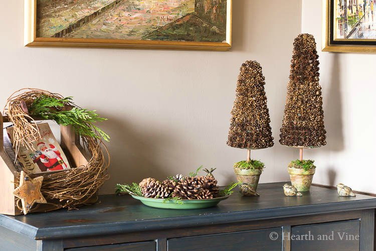 Pinecone Christmas trees in foyer