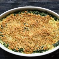 Spinach Casserole with Cheesy Panko Bread Crumbs
