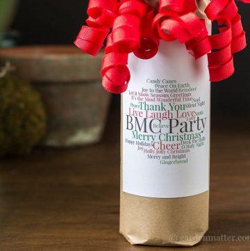 Wine Bottle Word Cloud Tag