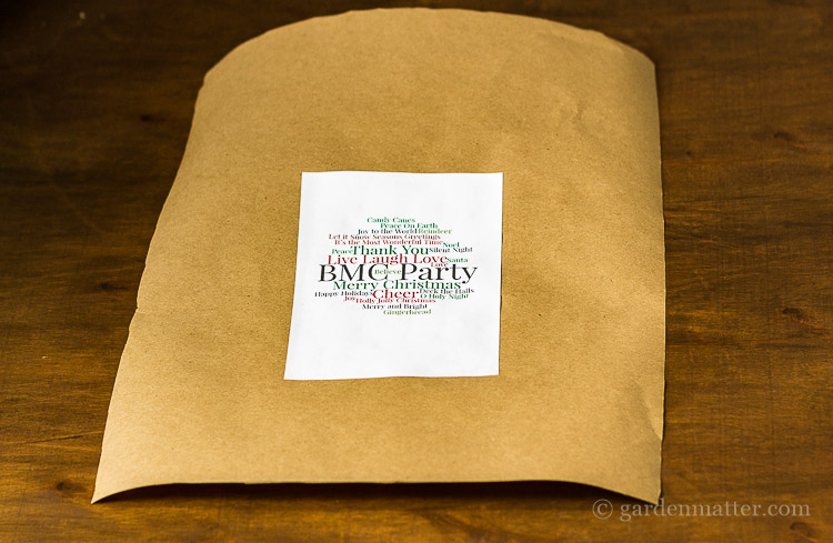 Word Cloud Gift Tag on Kraft paper