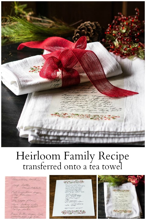 tea towels with family recipe printed on them