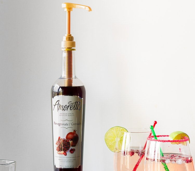 Purchase a pomegranate simple syrup online for this Moscow Pom Cocktail recipe