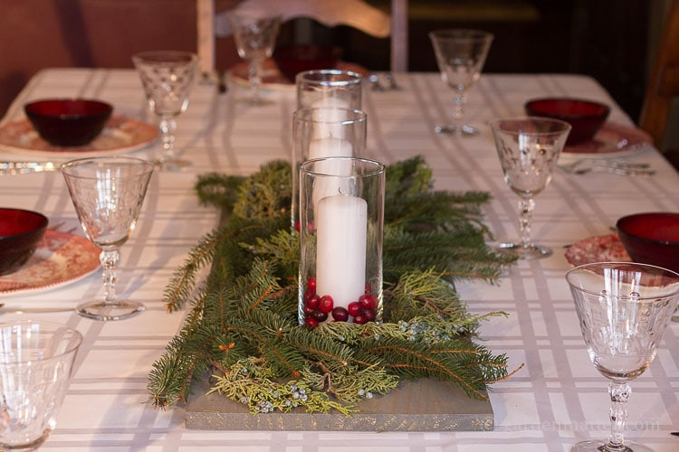 Wood Plant Centerpiece with Evergreens and Candles