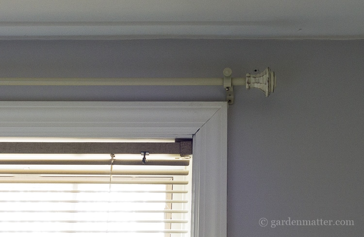 Neutral curtain rod for bedroom makeover.
