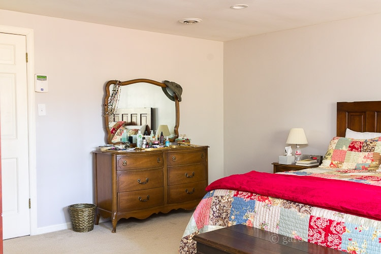 Dresser before view on $100 room makeover challenge
